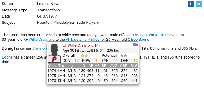 One of OOTP 16's cool new features: Hover over a player's name and a pop-up shows some basic info.