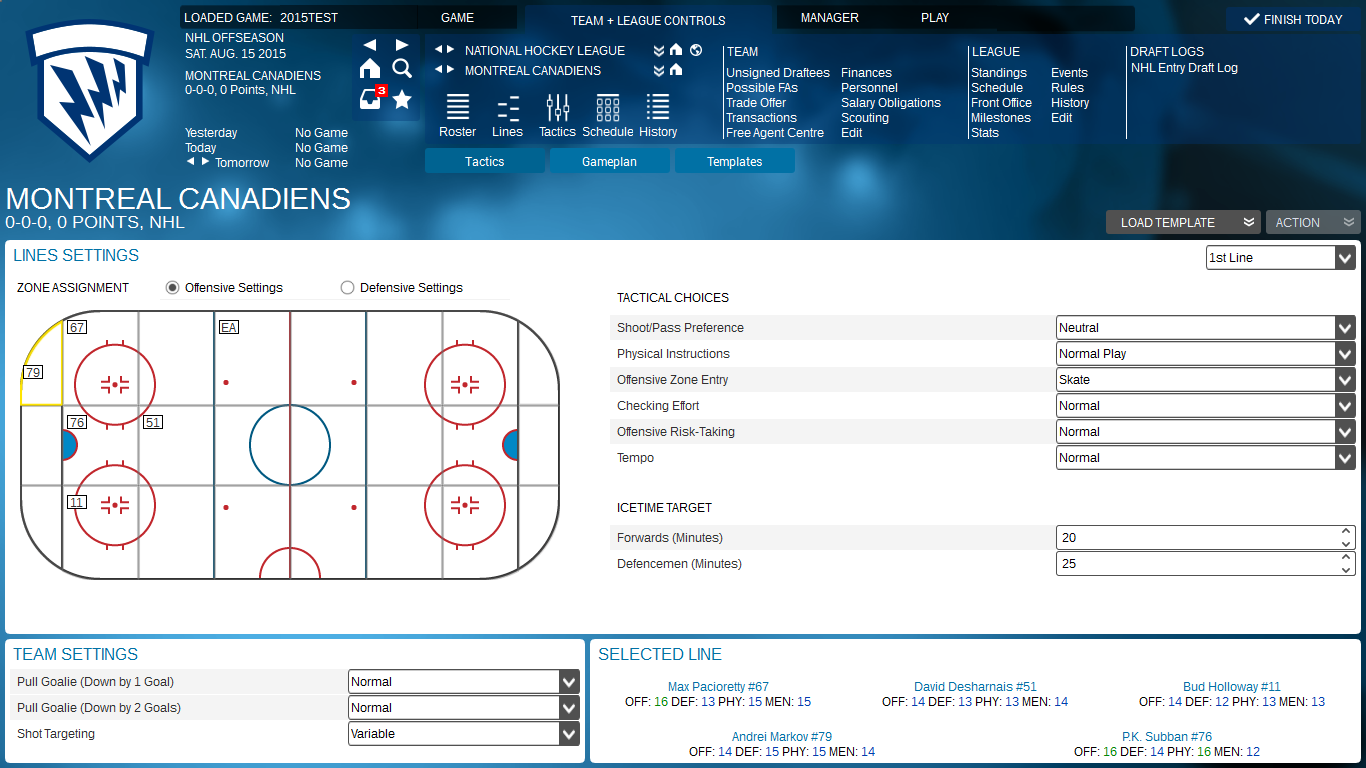 The all-new tactics screen gives the user unprecedented control over their team. (Click to enlarge)