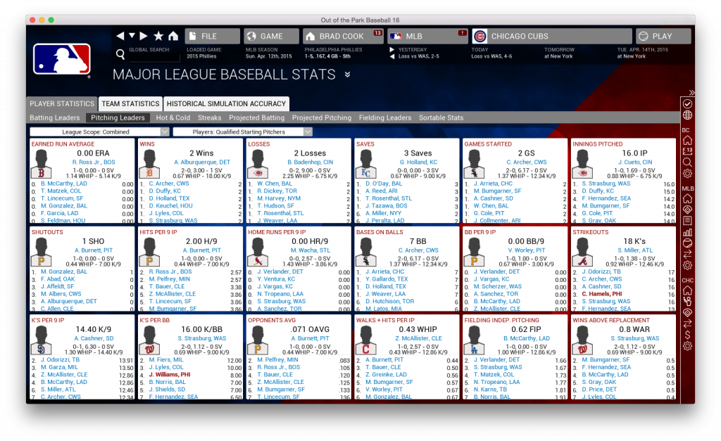 OOTP tracks FIP, ERA, and plenty of other stats.