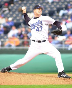 Royals right handed pitcher Bryan Rekar starts the second game of a double header against the Red Sox at Kauffman Stadium in Kansas City, Missouri on April 21, 2002.  Boston won 8-7.
